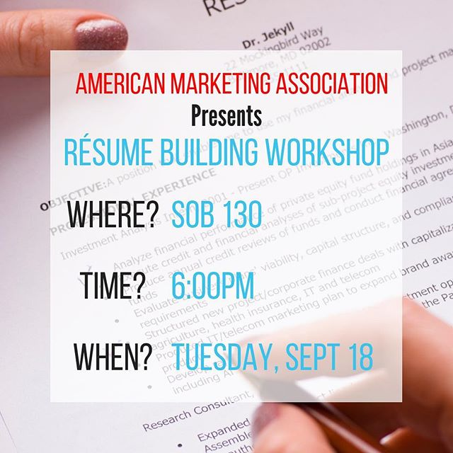 We are inviting you to our first workshop of the semester!! Come and learn key tips on how to perfect your résume. Save the date and see you there. 🔑