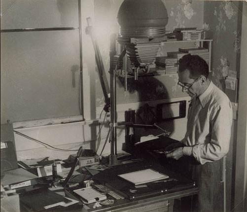 Man Ray in his darkroom on Vine Street