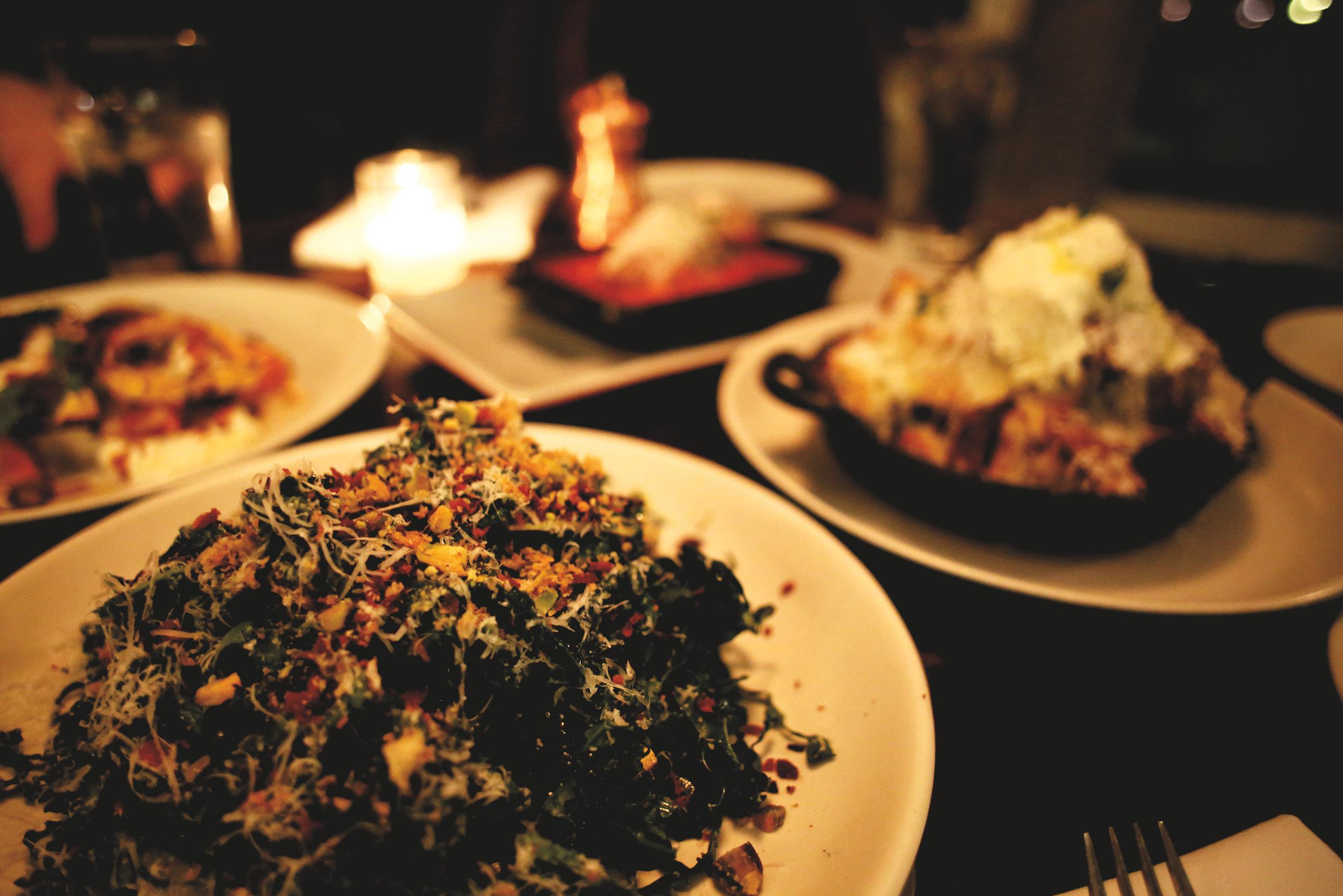 Tuscan Kale Salad & White Truffle Garlic Bread
