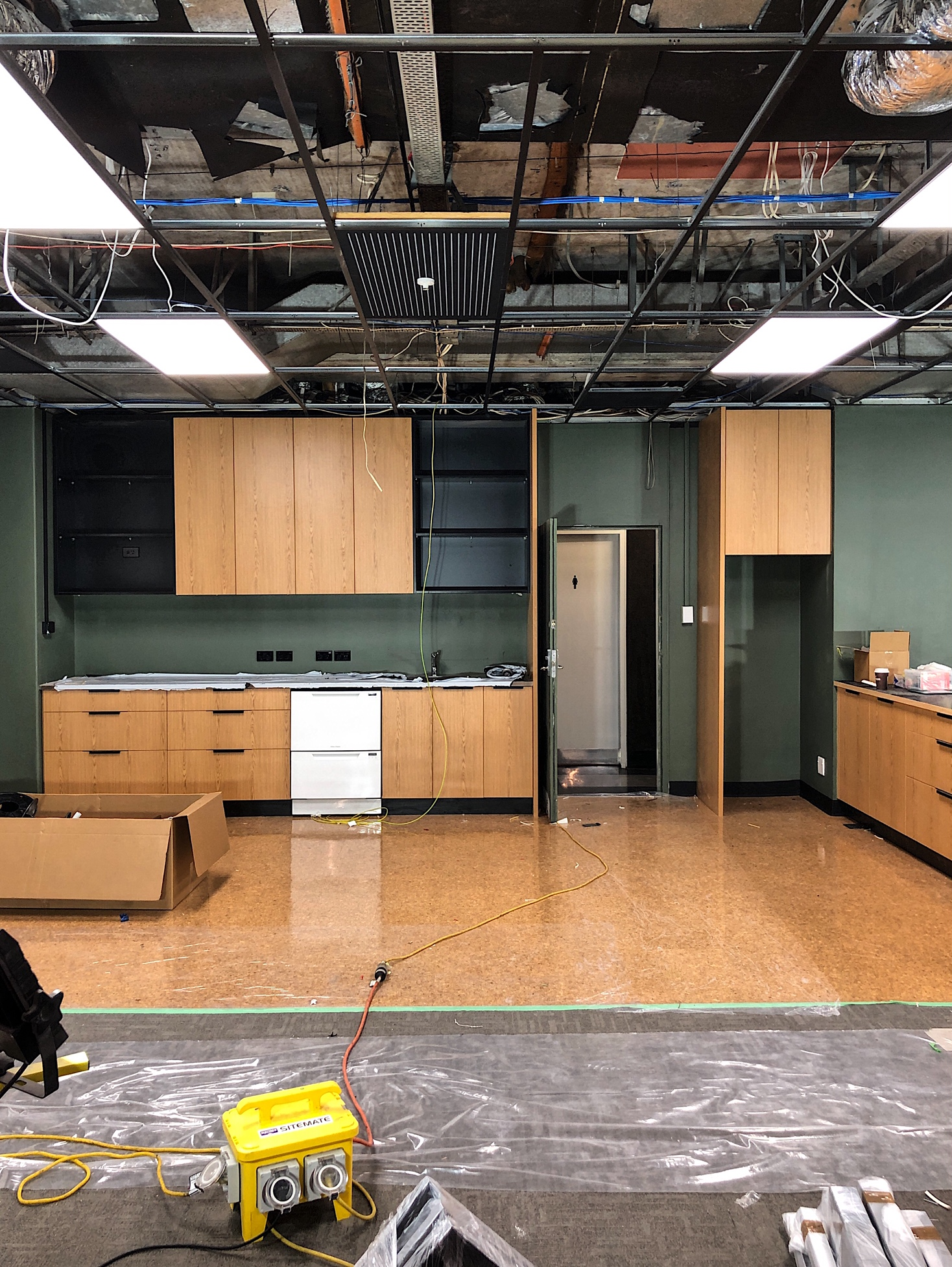 - We're excited to see our work place fit-out for tech clients at the Green Room nearing completion. Here's a few photos of the cabinetry being installed.MAY 2018