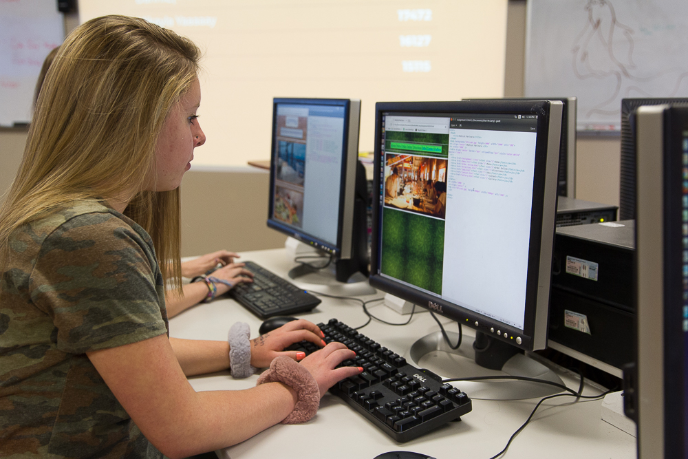 An LCS high school student programs a website in the technology lab.