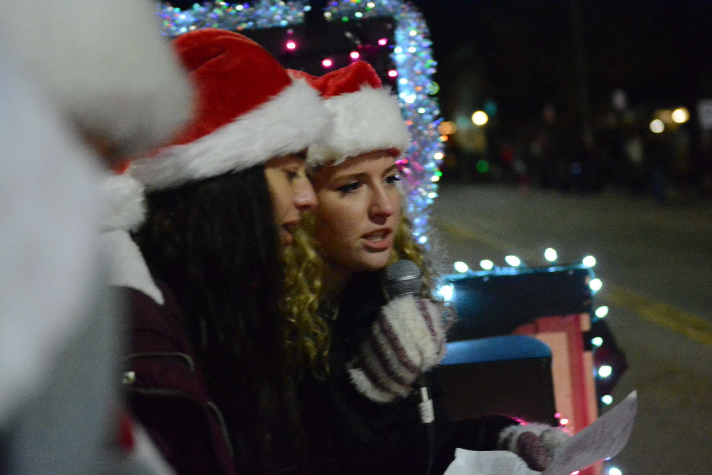 LCS choir members sing during the Parade of Lights in Longmont, CO.