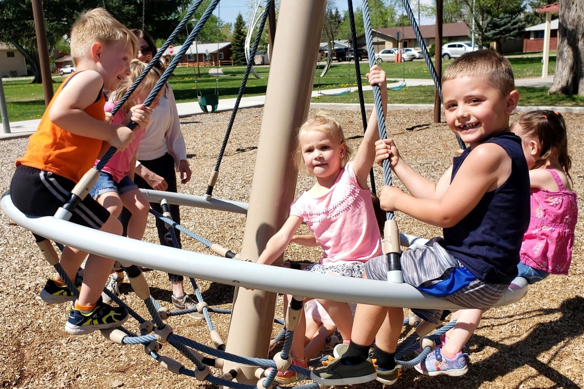 Preschoolers celebrating at the park after each school year.