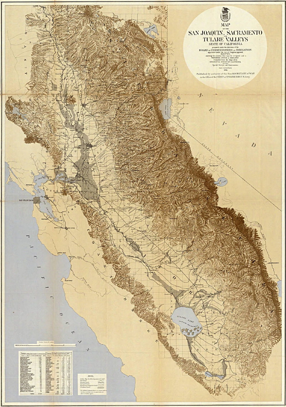 This map from 1873 shows the California Delta in gray east of San Francisco Bay.