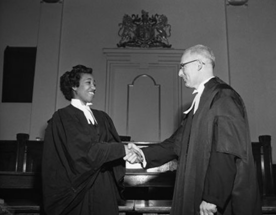 Violet King Henry (born 1929) graduated in Law, University of Alberta in 1954 and became the first person of African descent to be called to the Alberta Bar, as well as the first Black female to be called to the bar in Canada.