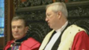 A sombre Mr Bailhache addressing at the Royal Court this morning