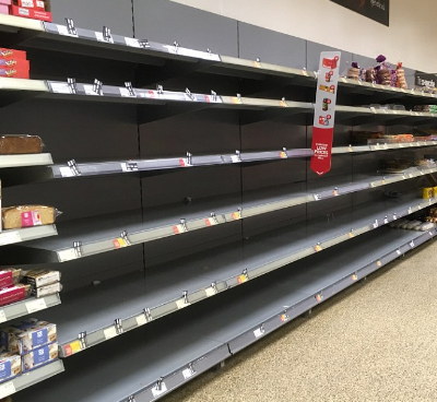 By 10:15am the shelves had been emptied by looters