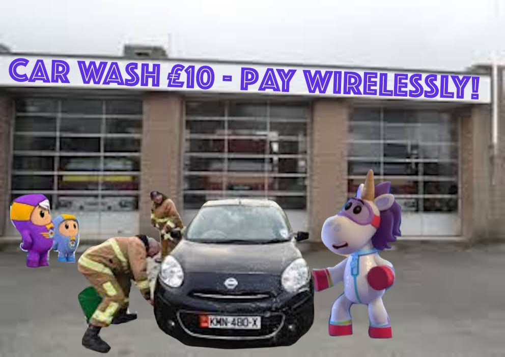 The changing face of philanthropy: the bots recently organised a car washing event at Quennevais fire station for ActionAid