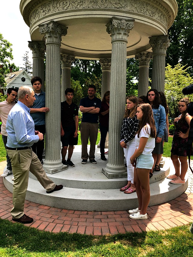 Candidate Mark MacKenzie talking to Waring kids