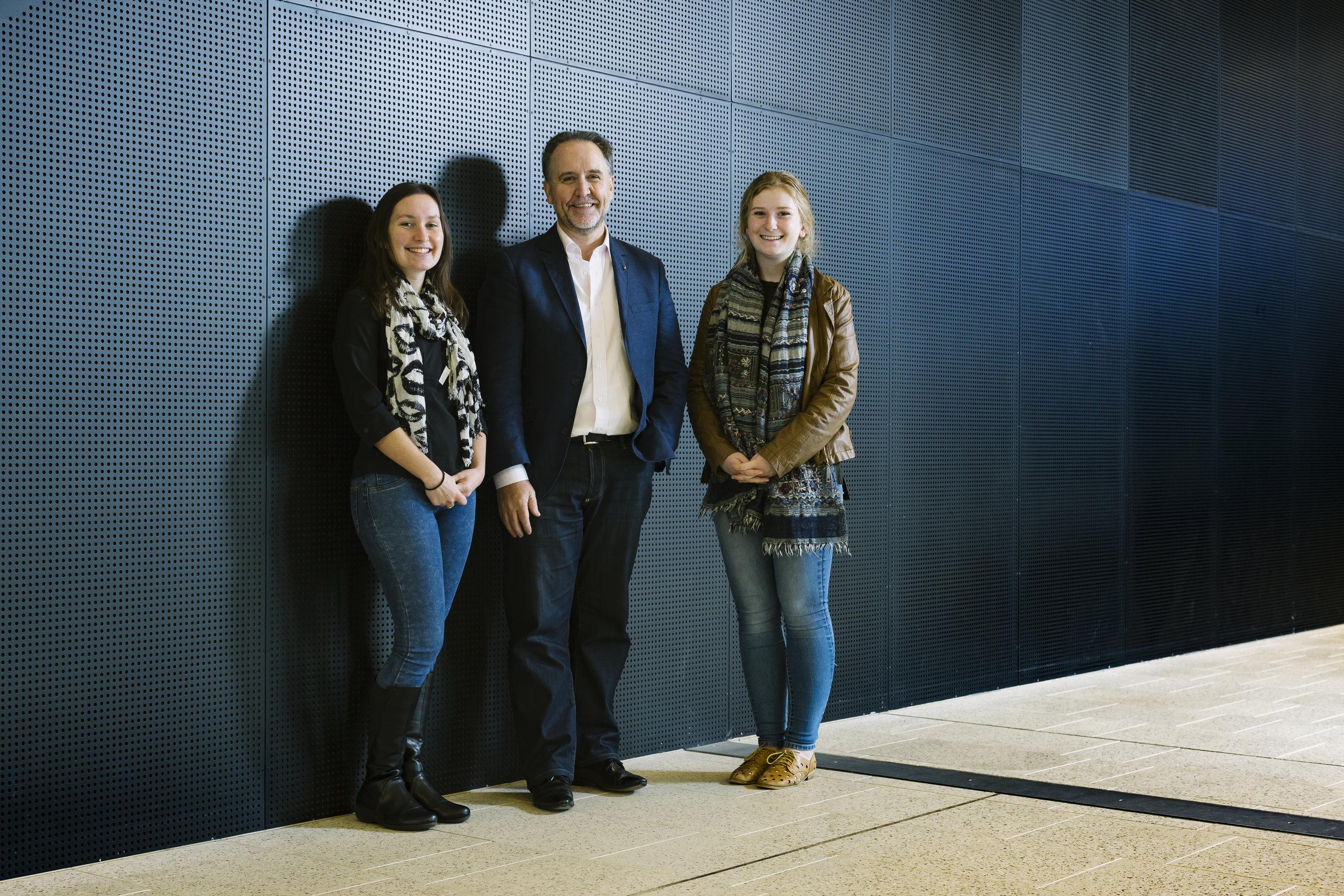 Monash University scholarship recipients Amy Purdon & Giorgina Maxwell with John Harney (3).jpg