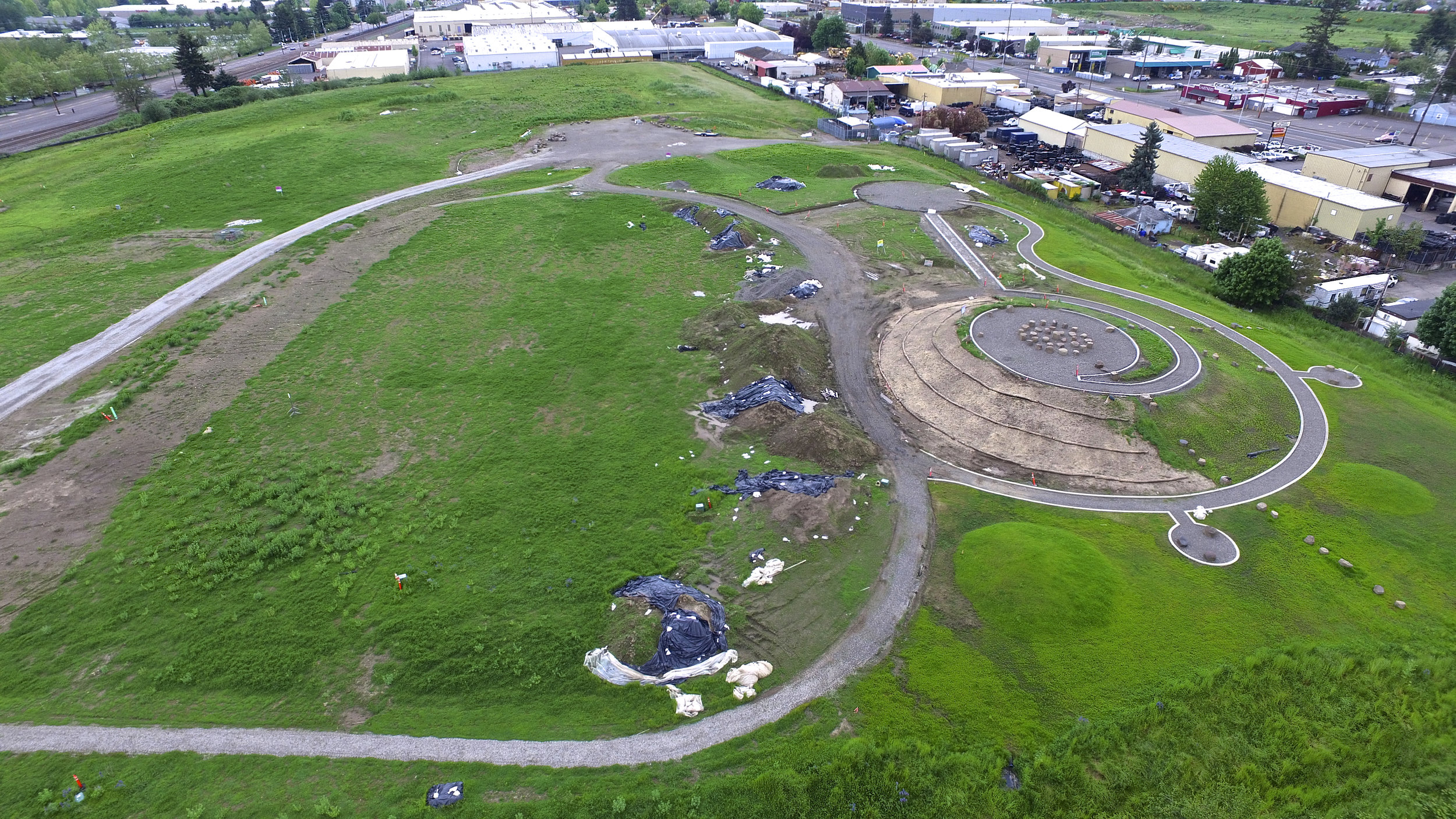 Aerial image of the Native Gathering Garden in the early stages of construction. Naim Hasan Photography.