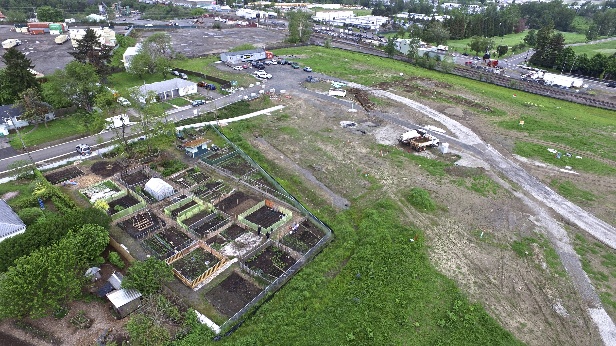 An aerial image of the 72nd Avenue Community Garden in Cully Park. Naim Hasan Photography.