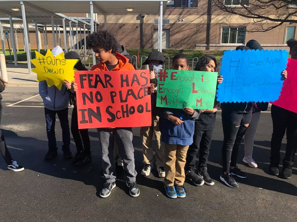 Scholars during the National Student Walkout to precent gun violence.
