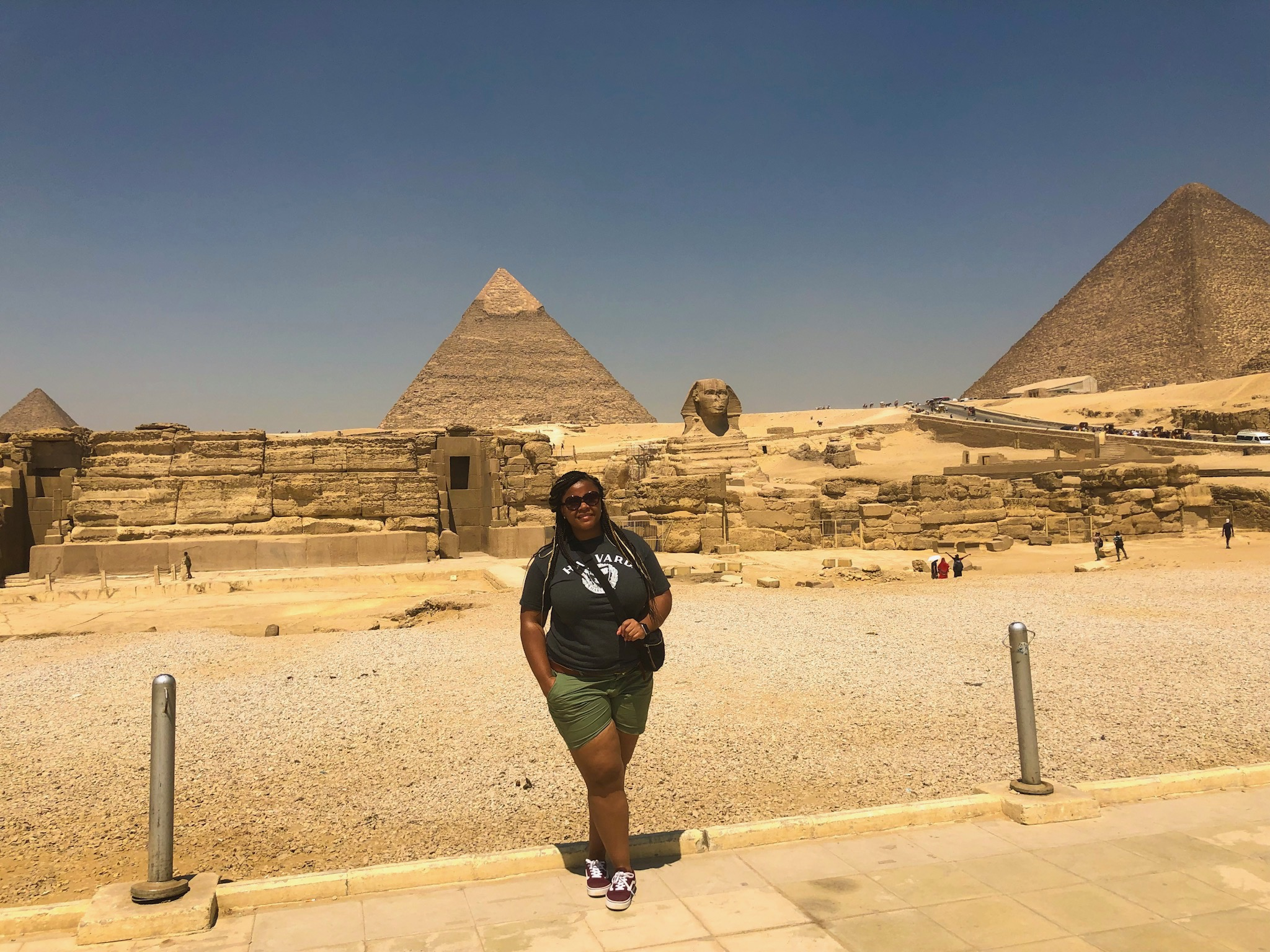 Picture wit The Sphinx at the Pyramids of Giza.