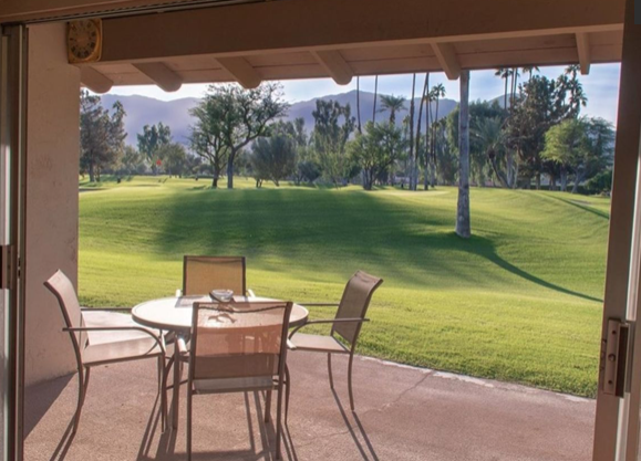 48755 Washington Street, La Quinta, CA 92253 - Fully furnished 3 bedroom villa overlooking the 5th green at prestigious La Quinta Country Club, inside Villas of La Quinta, a quiet community with gorgeous golf course and mountain views.