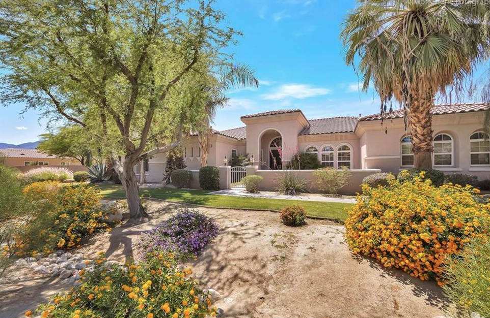49449 Colorado Street, Indio, CA 92201 - Located in sought after Desert River Estates, this Plan 2 on a corner lot has interior and exterior mountain views, 4 bedrooms plus an office, and 3 full bathrooms.