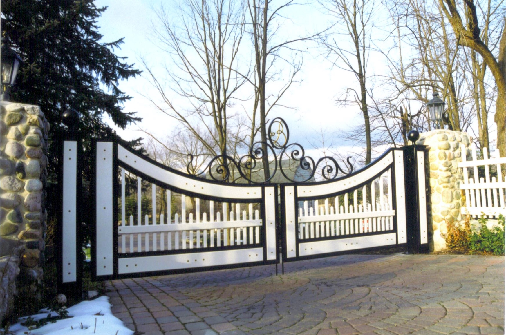 Driveway Gate with Wooden Panels