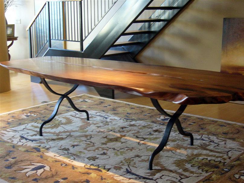 Custom Base for Reclaimed Lumber for Slab Top
