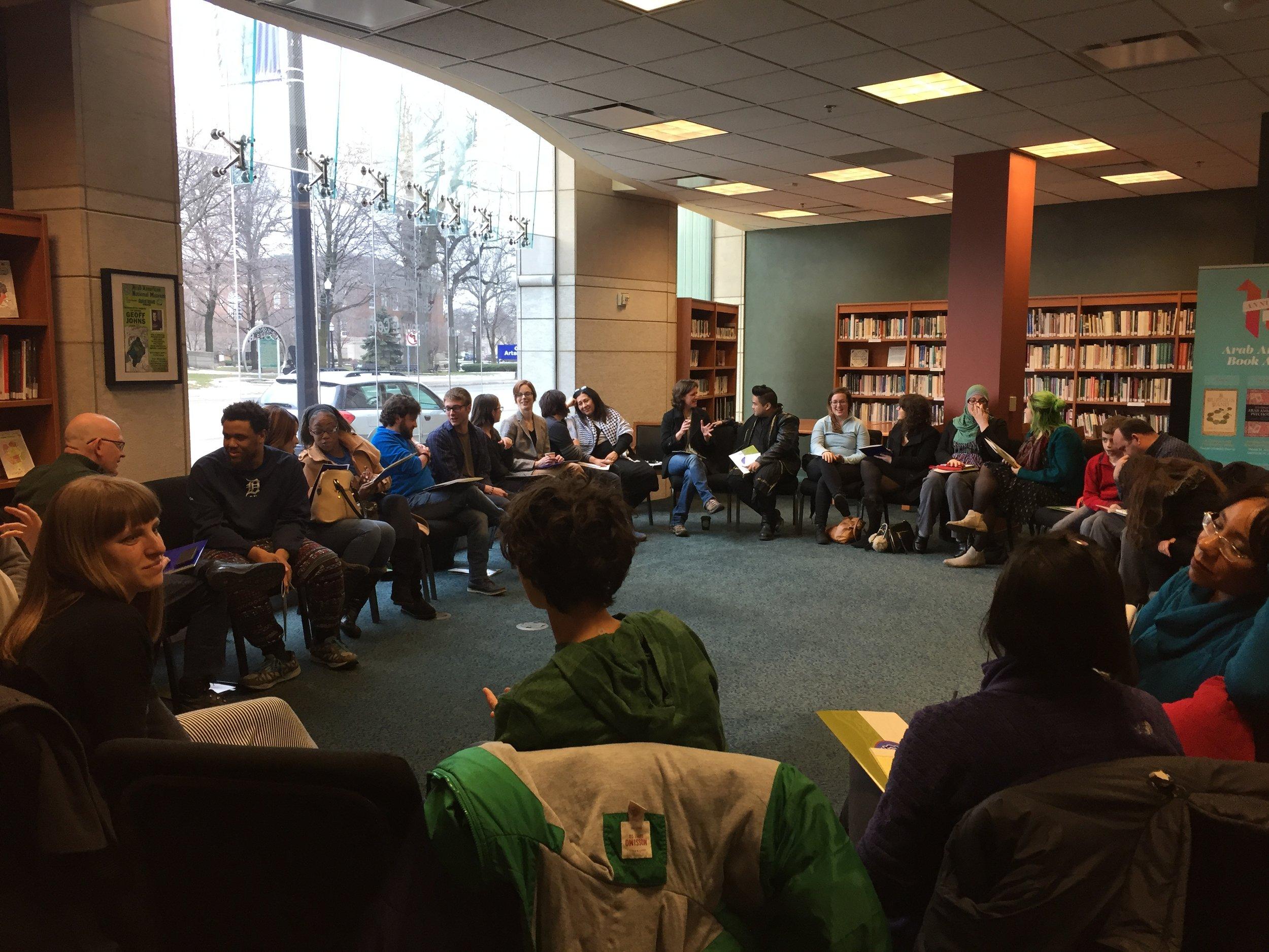 Hikayat: Storytelling WorkshopMarch 18, 2017, Arab American National MuseumDearborn, MIIn collaboration with the Arab American National Museum. - Storytelling workshop led by Nadia Abuelezam for 32 storytellers.