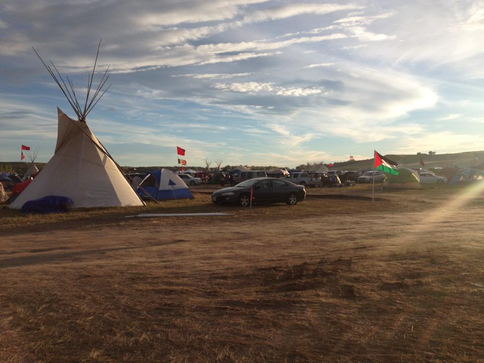 The Palestinian flag at the Standing Rock camp in Sioux Country. (Photo credit: Salma Abu Ayyash)