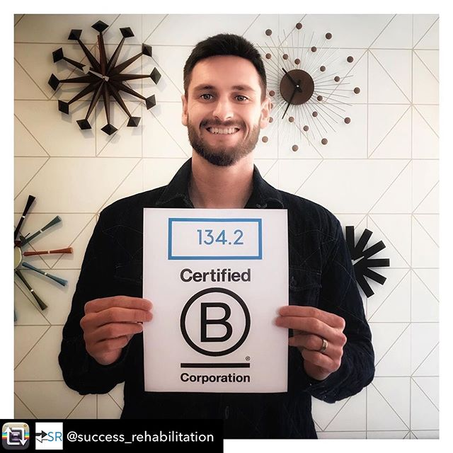 Repost from @success_rehabilitation  134.2, landing us in 99th place out of the total 2,778 companies in the #BCorp community. Always room to grow 💪 @wework #wework