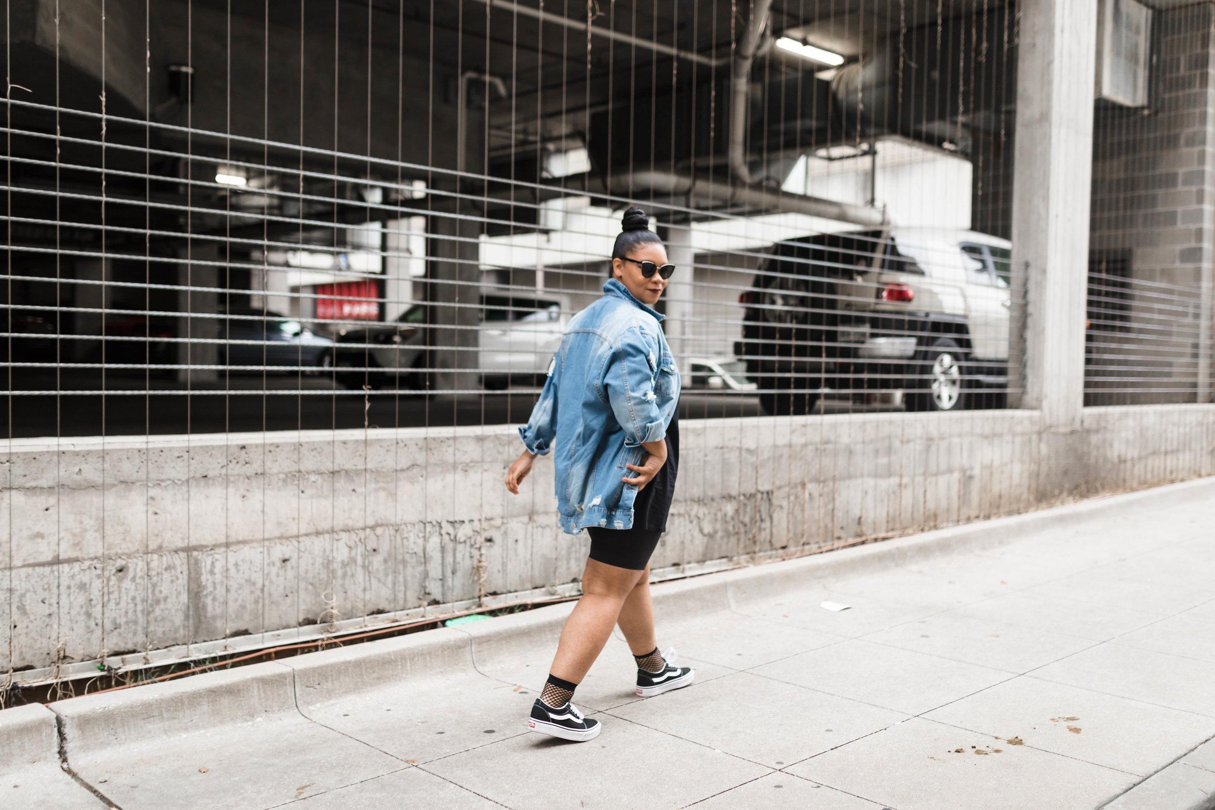 Street Styled: Platform Vans & All Black With Distressed Jacket - Natalie Greagor