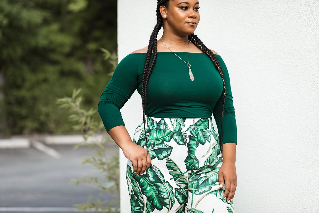 #OOTD GREEN OFF-THE-SHOULDER TOP & GREEN FLORAL TROUSERS - Natalie Greagor (5).jpg