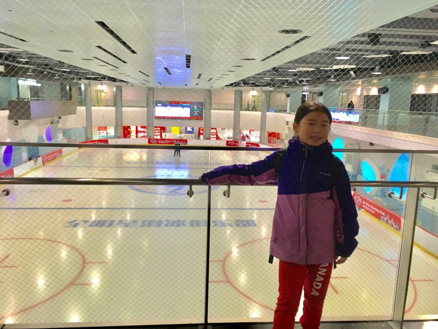 Marie glows with excitement as she awaits to skate