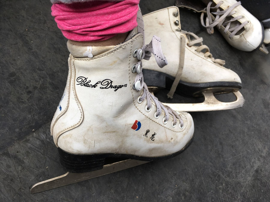Marie throws on a pair of locally-made rental skates
