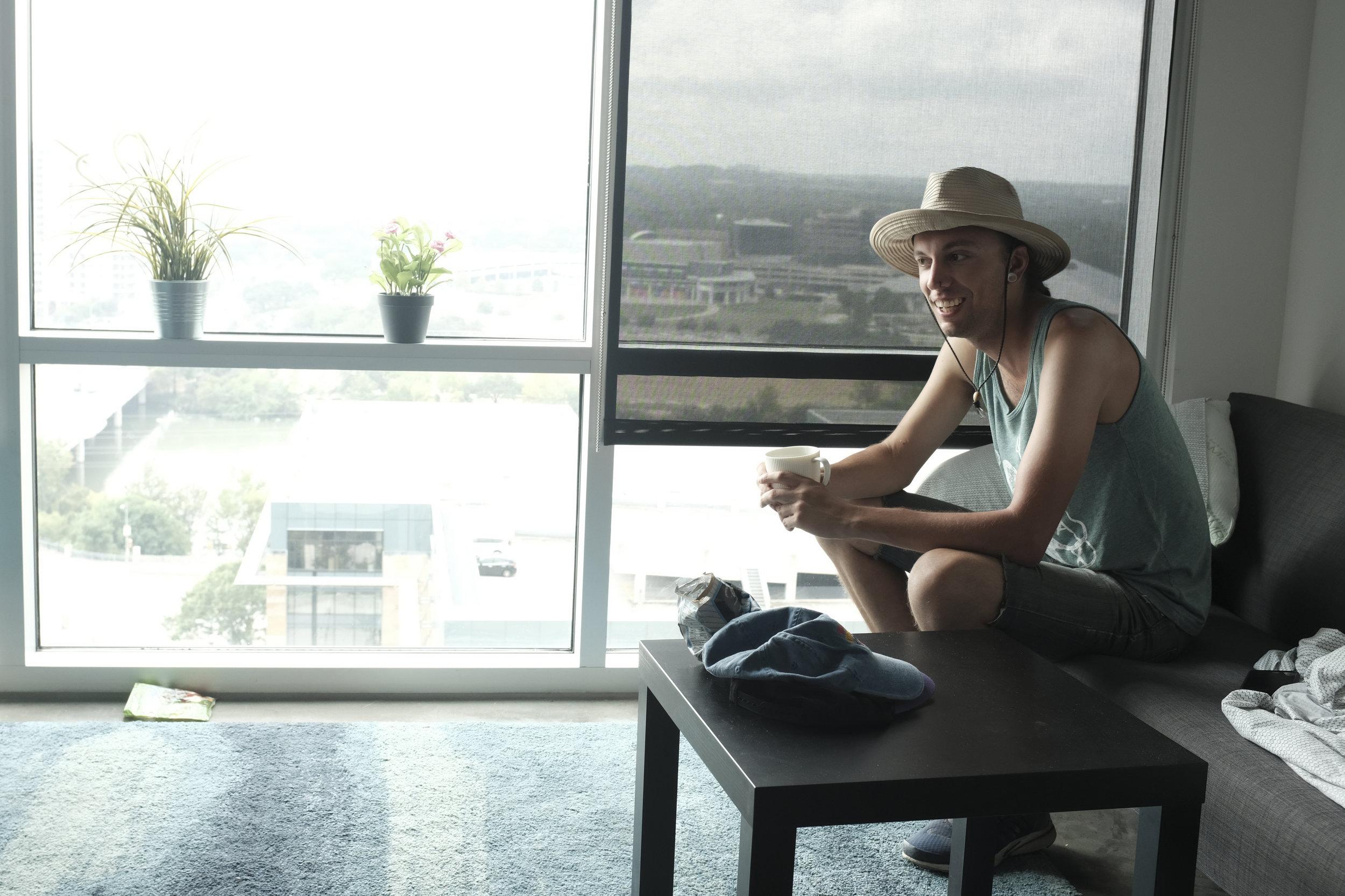 Joe enjoying a cup of Joe.