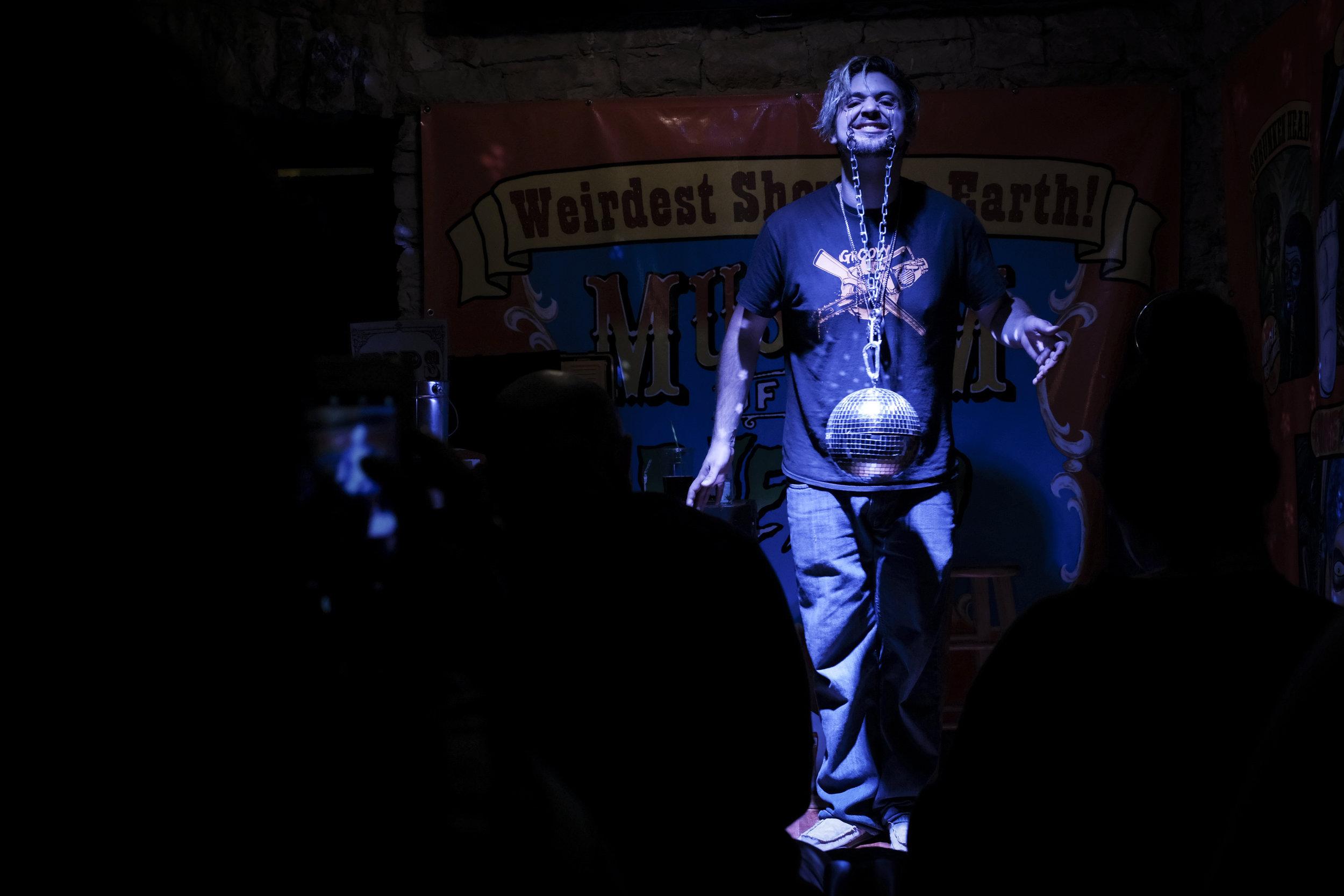 A disco ball hanging from eyelids. Keep Austin weird?
