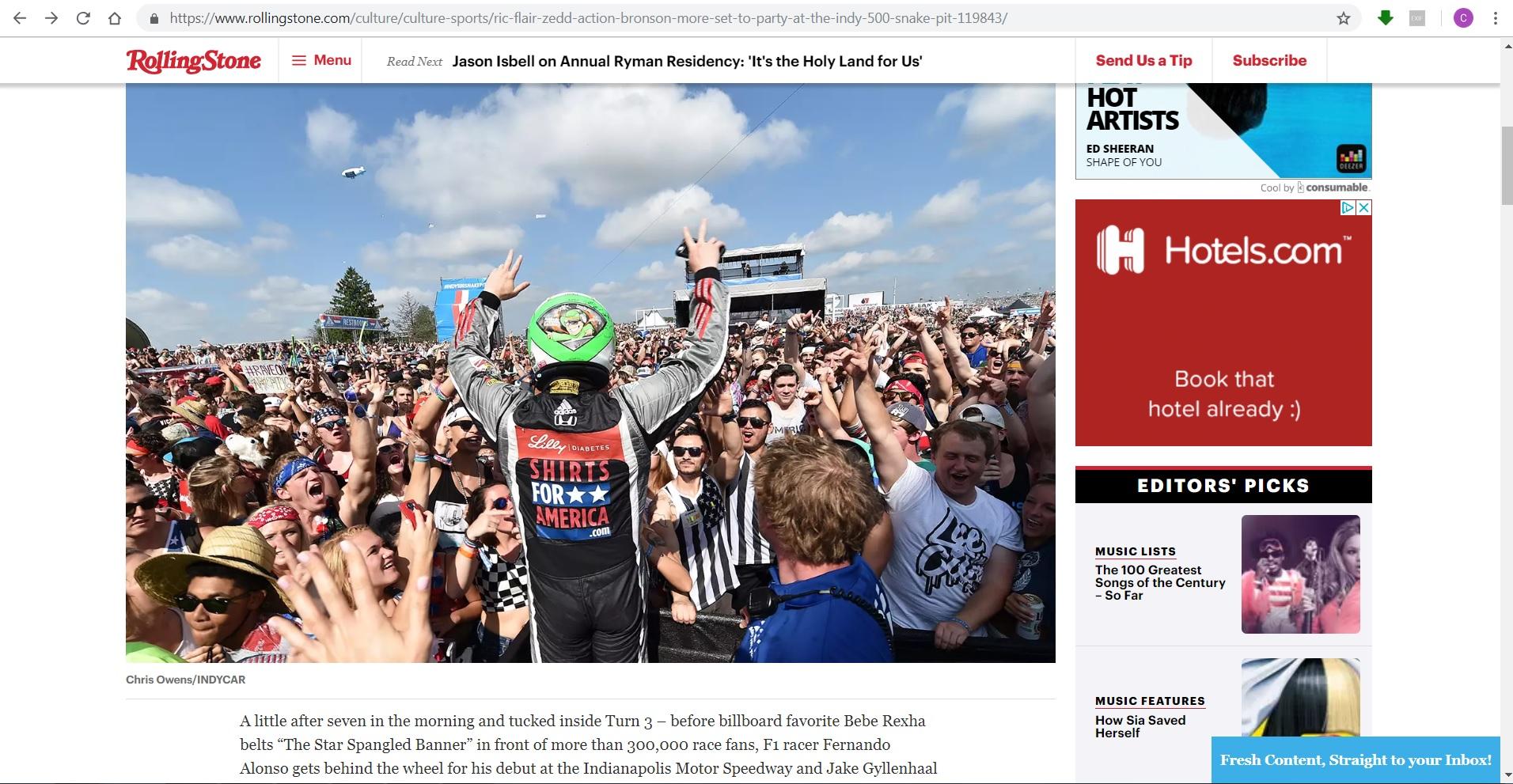 Rolling Stone Magazine - Indy 500