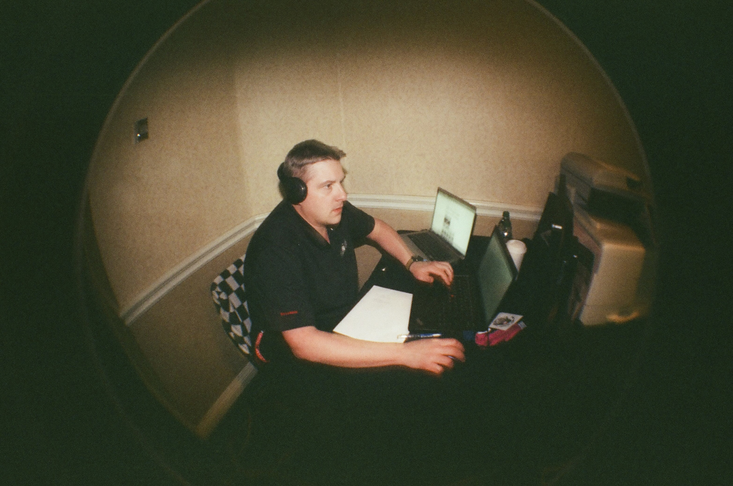 David Craske - Hardest working man in motorsport. - Shot with Lomography Fisheye One - 35mm Film - Long Beach, CA