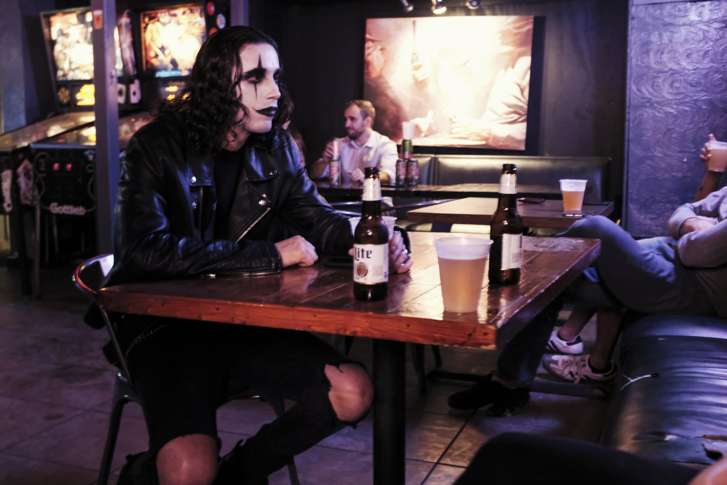 The Crow, having a beer - Austin, TX - Shot With Fujifilm X100F