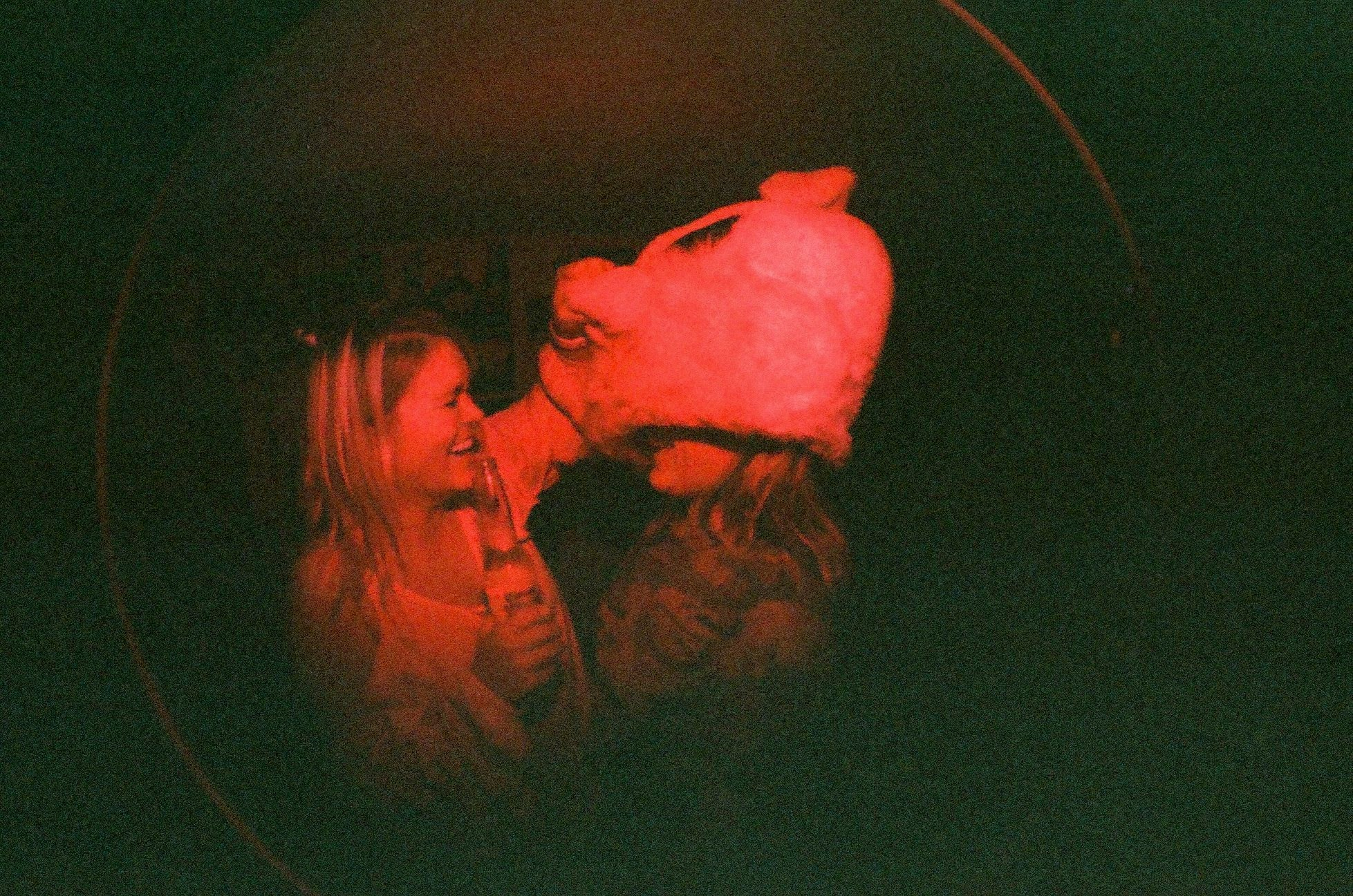 Malia & Kendra - House Party -  Shot with Lomography Fisheye One - 35mm Film - Speedway, IN
