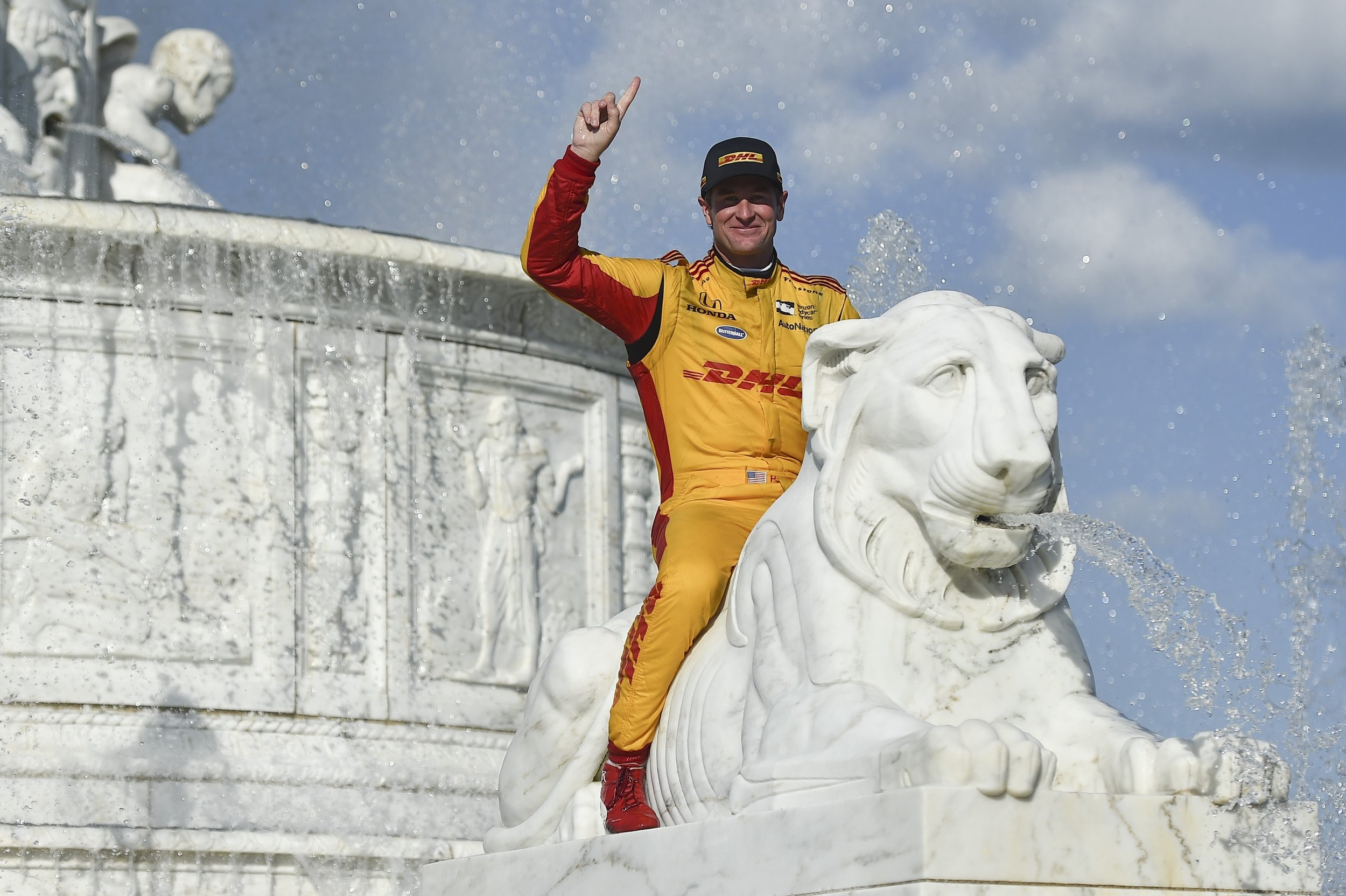 """There he was in the fountain after winning this year in Detroit. I yelled over to him """"Ryan, hop up on that lion"""" Here you have it!"""
