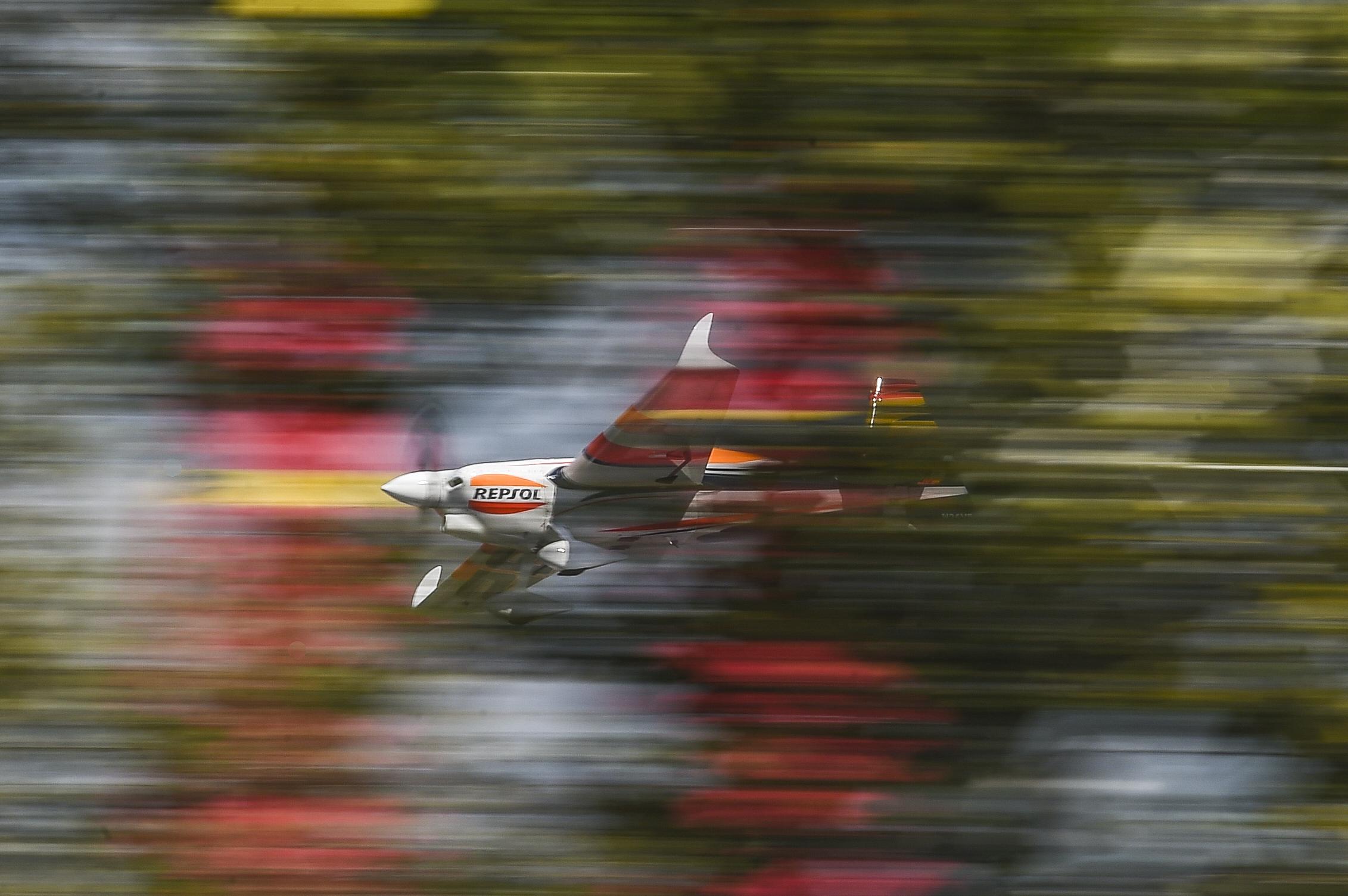 Juan Velarde soars at IMS during the Red Bull Air Race.