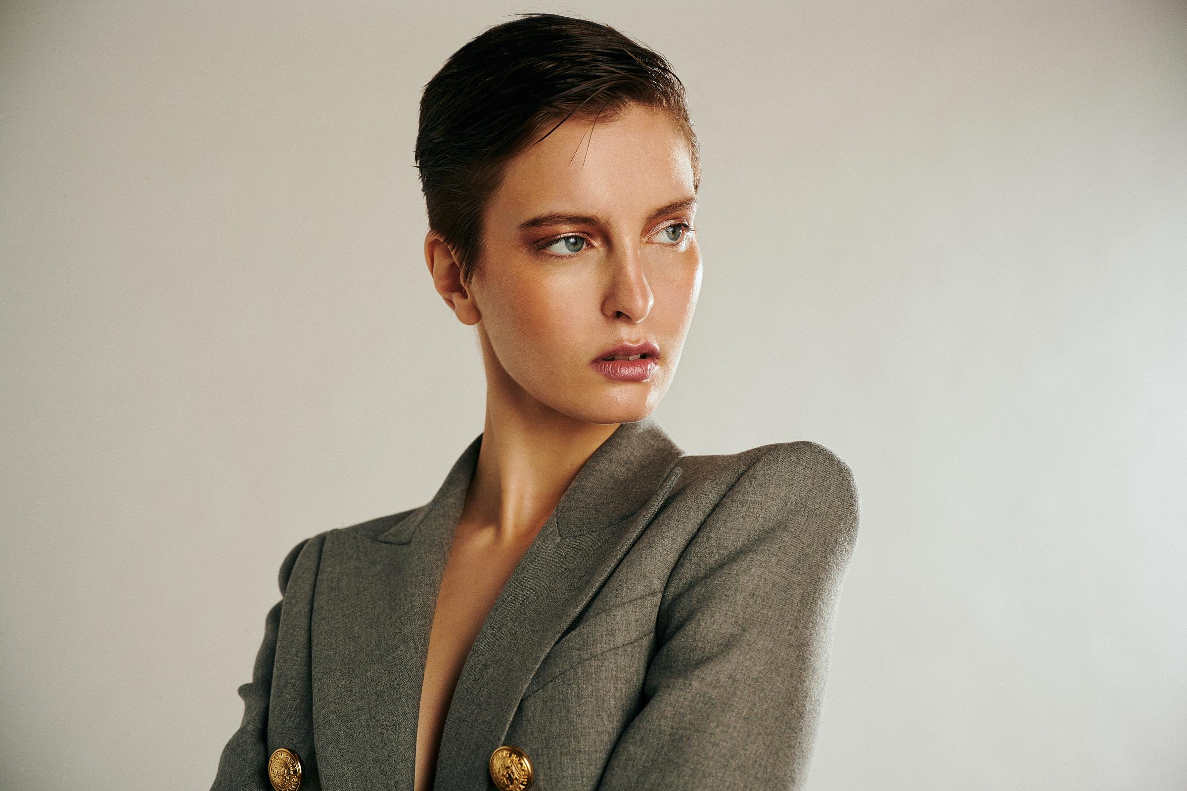 Model Jordan Swail wearing Balmain shot by Noah Asanias