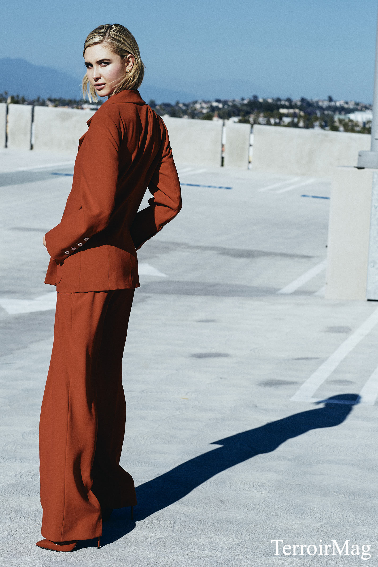 Red Suit: Zara Earrings: Caterina Jewelry  Shoes: Marco Proietti