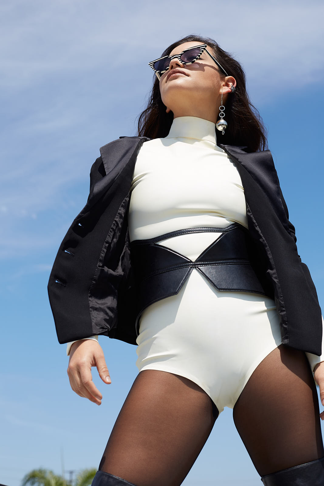Kim West leotard Vintage Emporio Armani jacket Hiraeth belt Wolford tights LORIBLU long black boots MOUNSER earring Graziela Gems x2 ear cuffs Illesteva black and white sunglasses