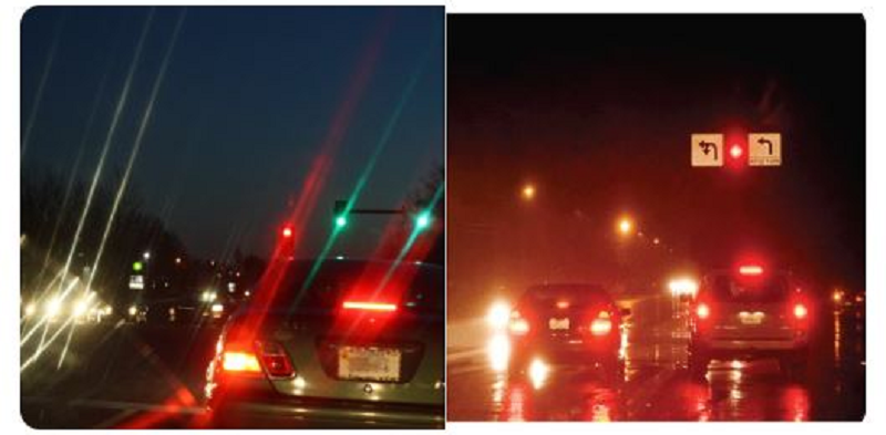 Left: How people with Astigmatism see the world. Right: How a normal person sees the world
