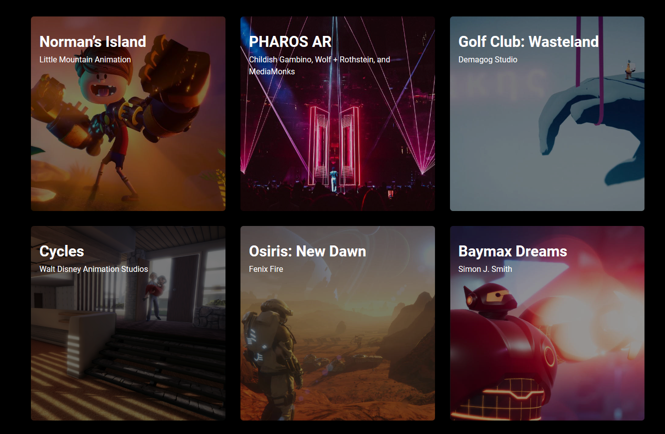 "Unity's ""Shrine page"" that features some of their highlighted works."