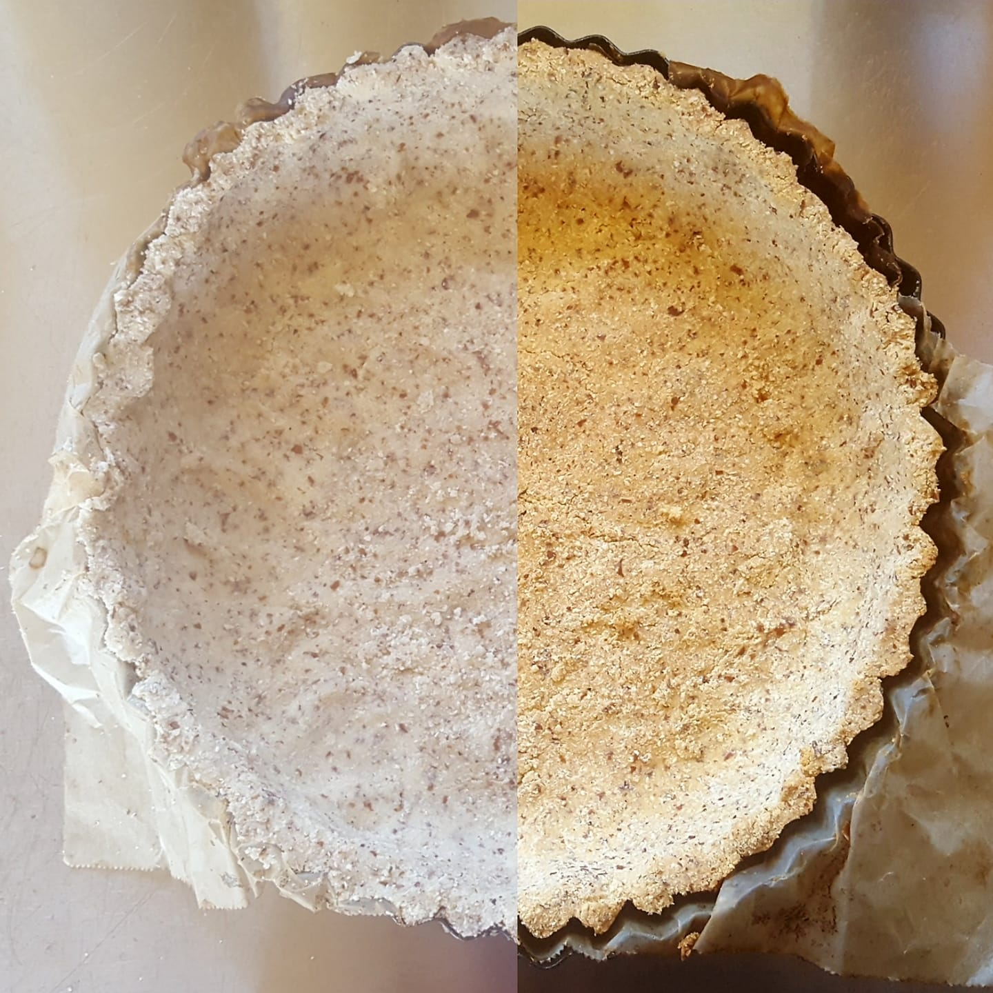 Grain free cricket pie crust. Before and after baking.