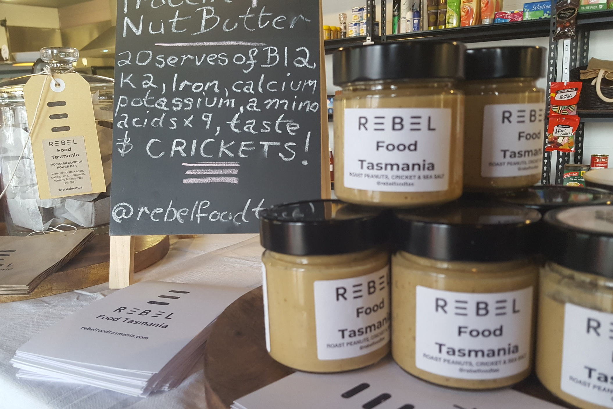 Protein Plus Cricket Nut Butter, aka P.C. on shelves at Derby Providore and General Store.