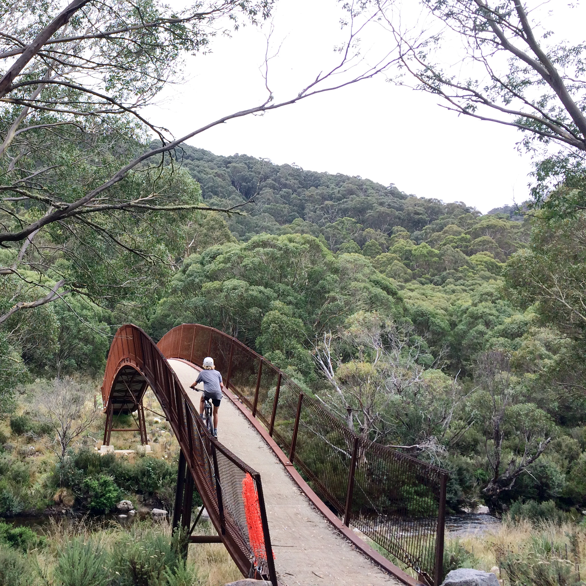 The start of the Thredbo Valley mountain bike and hiking trail starts at the front gate.