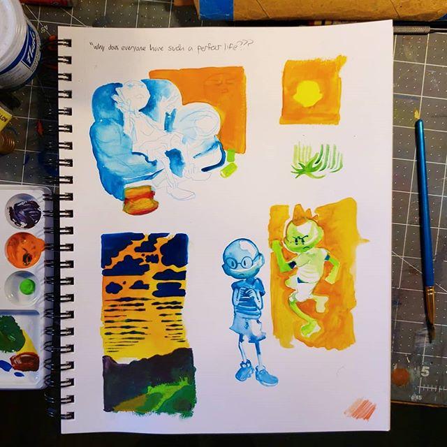 Some #lifesucks sketchbook paintings, with gouache and flash paint 💙🧡💚. . . #sketchbook #painting #drawing #art #illustration #illustrator #paint #sketch #artistsoninstagram #artist #colorful #lifesucksincandyland #gouache #painter