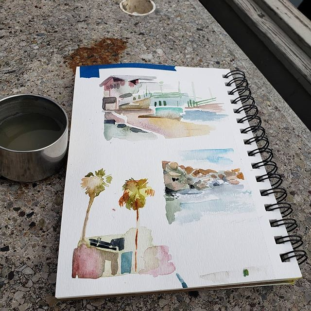 Can u guess where I went today 👀 . . Its cloudy and theres not to many people here so but it's honestly perfect weather to be walking around and looking at stuff. 🤡 plus theres a haunted arcade. . Also I painted some stuff for fun. . #watercolor #pleinair #beach #pier #painting #outdoors #ocean #art #illustrator #artistsoninstagram #illustration #drawing #summer #positivevibes