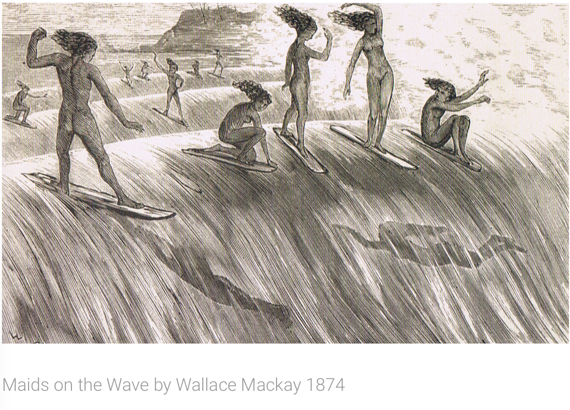 Maids on the Wave by Wallace Mackay,1874 - Join Lotus Bay Yoga for a three part yoga series paying tribute to the history of surfing.