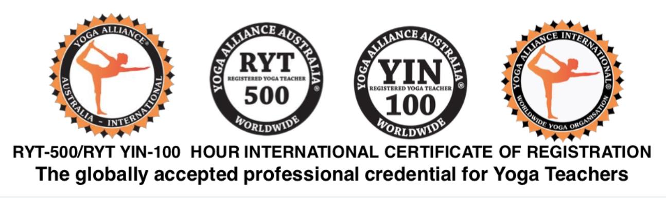 Amy Weidlich Yoga Alliance International professional credentials RYT500, YIN100