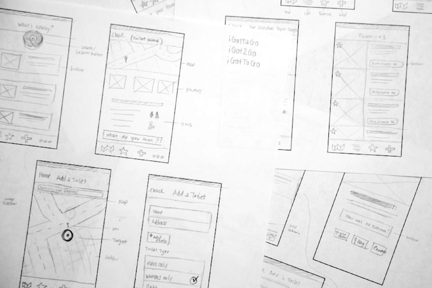 Early wireframe sketches from initial app flow.